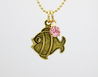Goldfish Necklace, Gold Clown Fish Charm, Fish Charm Necklace B066