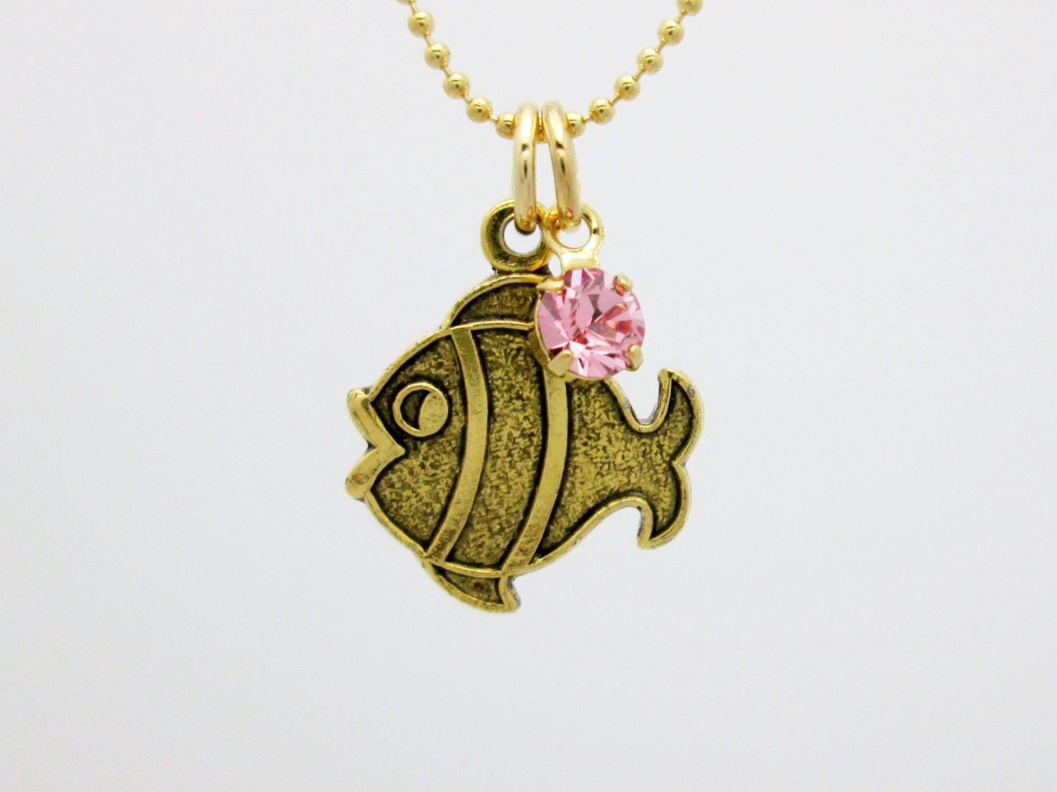 Goldfish necklace gold clown fish charm fish charm necklace for Gold fish pendant