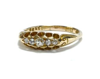 Edwardian 18K Diamond Five Stone Engagement Ring - Size 7.5