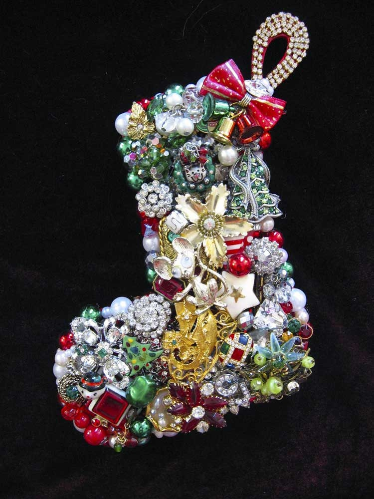 Vintage Jewelry Christmas Stocking Collage Sculpture Wall Art