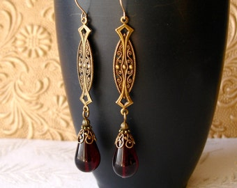 Garnet Red Victorian Earrings Edwardian Art Nouveau Filigree 14kt Gold Filled Wires January Birthday Anniversary Wedding Valentines Day Gift