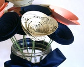 Musical Valentines Gift; 12 Paper Flowers in Vintage Sheet Music, Navy, and Blush; Valentines Decor; Unique Valentines Gift for Her