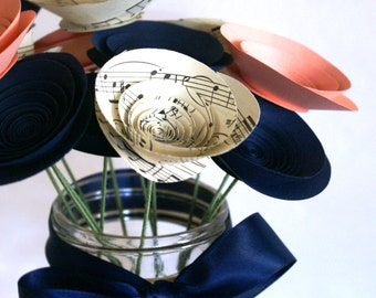 Paper Flowers in Evening Blush; Vintage Sheet Music, Navy, and Blush Medium-size Paper Flowers; Gift for Musician; Gift for Music Lover