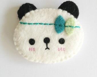 Kawaii panda brooch, cute panda brooch, felt panda, panda accessories