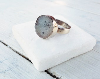 White Druzy Ring, Druzy Greyed Agate Sterling Silver Cocktail Ring, Druzy Jewellery, Druzy Solitaire Ring, American Size 7