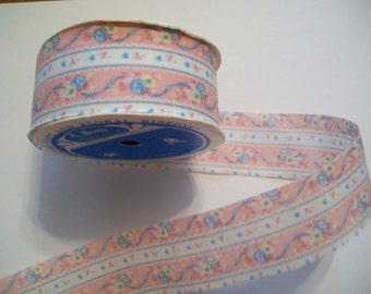 Ribbon Destash - Vintage OFFRAY Ribbon - Pink Floral Stripe