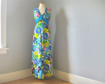 1960s Vintage Paradise Hawaii Designer Maxi Dress // Boho // Summer // Festival // Resort // Beach
