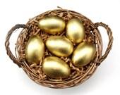 Large Golden Eggs Wooden Waldorf Easter Eggs in Bag