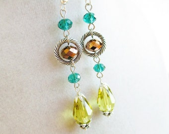 Long Yellow Crystal Drops & Bronze and Teal Crystal Sparkly Silver Earrings