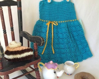 Ready to ship, Blue crochet dress, 18-24 months, Valentine's Day gift