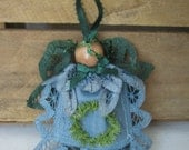 Rustic Country Lace Doily Angel Ornament Green and Blue Battenburg Lace Doily Angel SnowNoseCrafts
