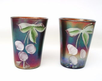 Antique Fenton Carnival Glass Tumblers, Northwood Glass, Iridescent Glass, Cobalt Blue Enameled Cherries