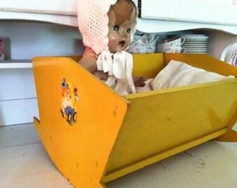 primitive mustard doll cradle antique vintage