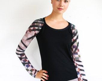 Women's raglan tshirt, black knit and lycra, watercolor print raglan sleeves, S M L Xl