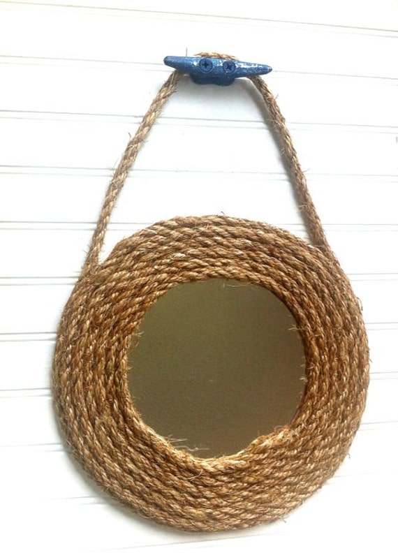 Large rope nautical mirror boat cleat round beach island for Large nautical rope