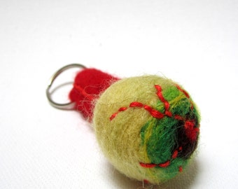 Zombie eyeball,  keychain, creepy key ring, weird key fob, needle felted, green zombies, gory gift, bloodshot eyeball, optometry, body parts