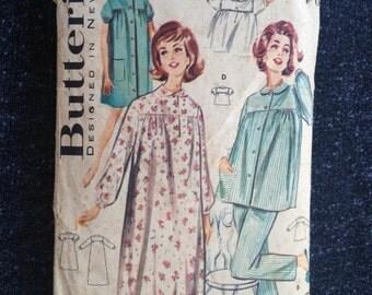 Vintage Butterick 2117 Sleepwear pattern, 1960's. Size 14, Bust 34.