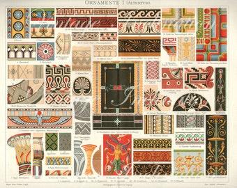 Antique Vintage 1894 Antiquity Ornamental LARGE Design Chromolithograph, Fabrics 1800s art German color lithograph