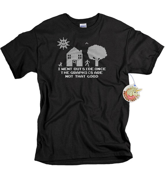I went outside once addicted to gaming geek tshirt computer video game mens geekery t-shirt tee 8bit screenprint gift 4 father son brother
