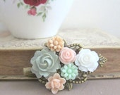 Prom Hair Pin Accessories Pink Mint Green Hair Clip Flower Hair Pin Floral Barrette Pink Peach Sage Prom Night Graduation Hair Accessories