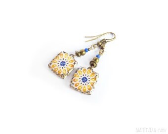 Yellow star pattern tile earrings Mediterranean ceramic tile pattern earrings. Spain, Portugal, Italy Summer earrings