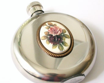 Round Liquor Flask Stainless Steel - 5 oz - Victorian Women  Flask - Vintage Style Accessories
