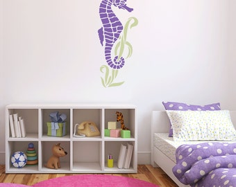 Cute Seahorse Removable Vinyl Wall Art, nautical wall sticker sealife wall art underwater animals seahorse wall art animals aquarium