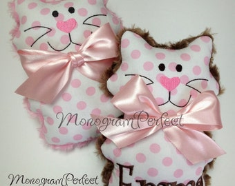 Personalized Soft, Cuddly Polka Dot Kitty Soft Toy