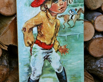 Vintage 1960s Jolylle wide eyed image of jockey boy