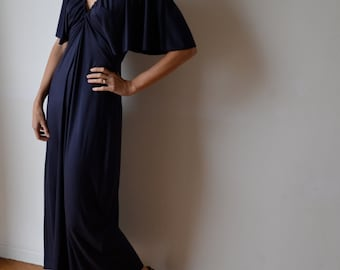 Women's long maxi dress. Dark blue navy soft jersey. Gatsby kimono sleeves. One size fits many.