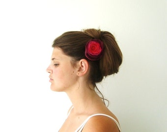 Hair Accessories Flower Hair Clip Bobby Pin Flower Accessory Red Coral Burgundy Fuchsia Mix
