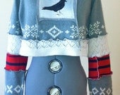 Women's Upcycled Cropped Sweater Gray/Red/White/Bird