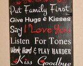 Firefighter House Rules, Firefighter Decor, Distressed Wall Decor, Custom Wood Sign, Firefighter - In This Firefighter Home Red Filigree FFC