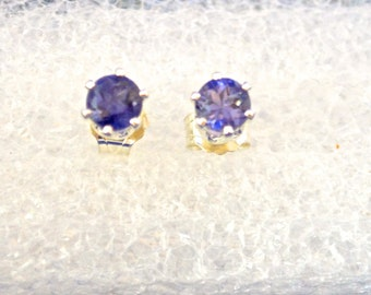 Iolite Stud earrings, 4mm Round, Set in Sterling Silver, Natural,   E351