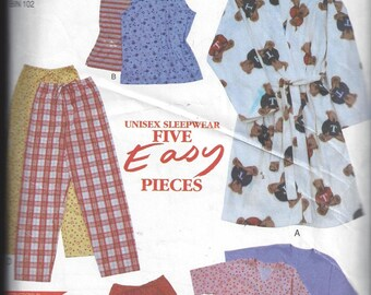 New Look Simplicity 6928 Pattern for Unisex Sleepwear, Robe, Pants, Shorts, Top, Sizes XS to L, Five Easy Pieces, Home Sewing Pattern