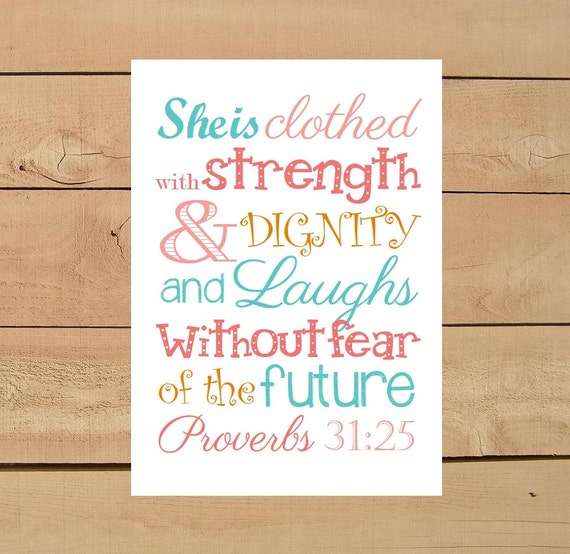 Stength And Dignity: Items Similar To Proverbs 31:25 She Is Clothed With