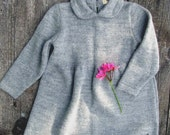 SALE 30% OFF Gray dress / size 3-6 months / knitted baby alpaca dress with Peter Pan Collar / baby girl dress  /
