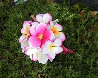 Frangipani Plumeria Hibiscus Bouquet Hot Pink Destination Beach Wedding
