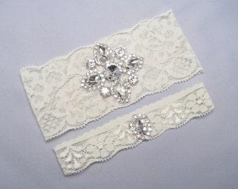 Ivory White Lace Crystal Bridal Garter Set Rhinestone Wedding Garters Keepsake And Toss