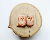 FREE SHIPPING Valentine's Day Gift Owl and Cat Animal brooch owl brooch cat brooch gifts under 25 (0016)