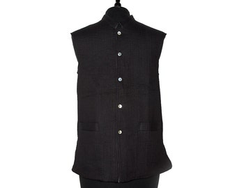 LONG Cotton Quilted WAISTCOAT - Black, reverse dark Grey - All sizes - Unisex
