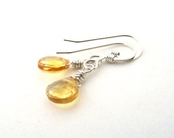 Small citrine earrings, silver wire wrapped earrings, November citrine birthstone earrings, golden citrine gemstone, citrine jewelry