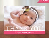 Personalized Baby or Toddler Girl Photo Thank You Card // PRINTABLE DIGITAL FILE