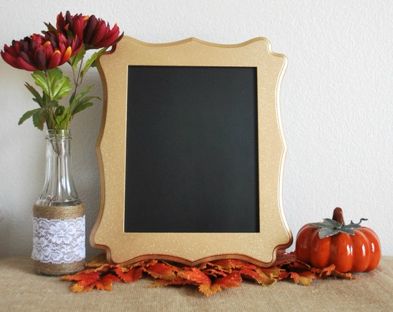 Gold Glitter Framed Chalkboard. Perfect Fall Decor or Picture Prop.