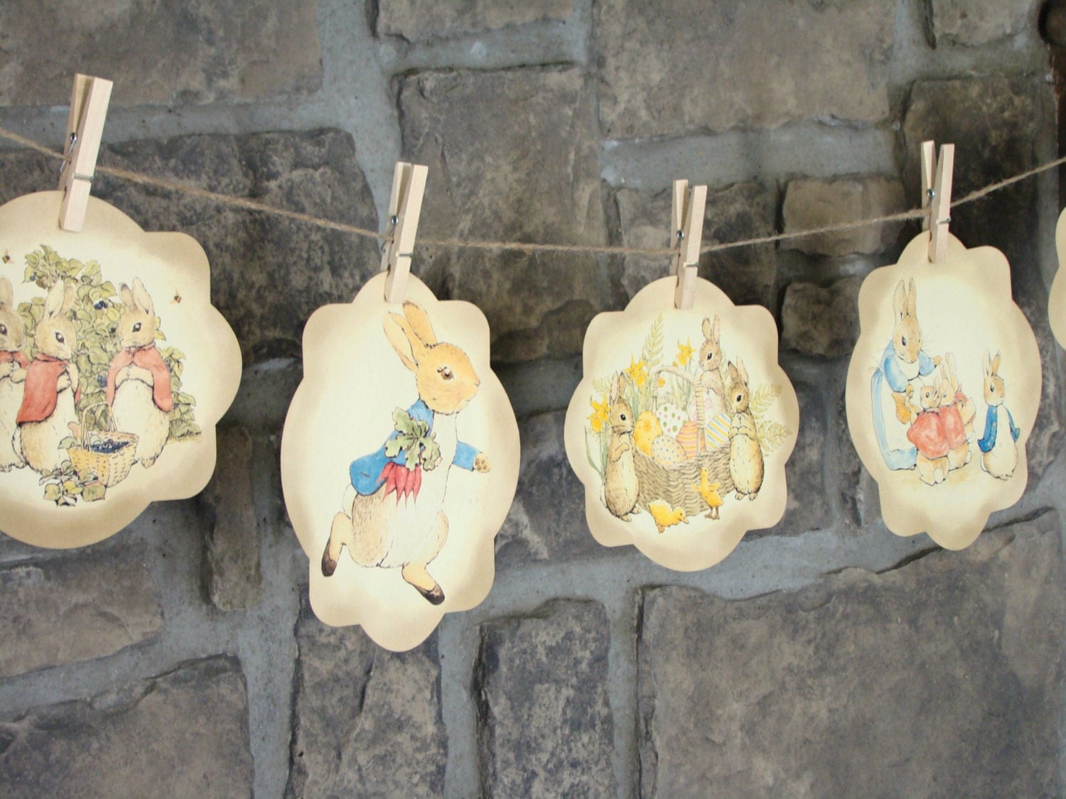 Vintage Peter Rabbit Banner Decoration For A Baby Shower