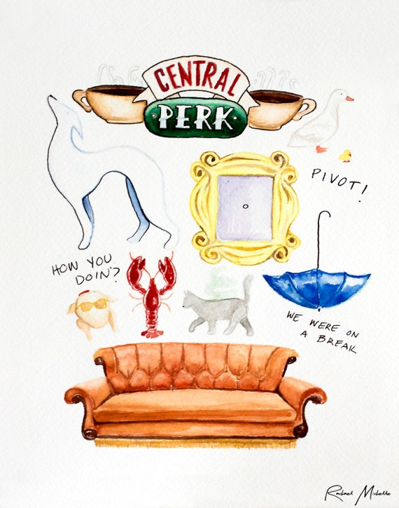 Cake Art Tv Show : Items similar to Friends TV Show Watercolor Illustration ...