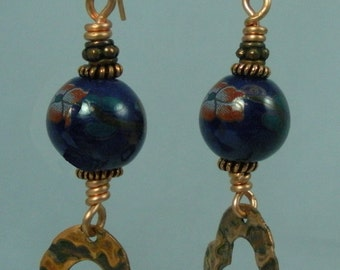 Blue Ceramic Beads with Antique Copper Heart Dangle Earrings