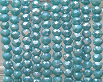 4x3mm Faceted Opaque Turquoise AB Chinese Crystal Rondell Beads 9 Inch Strand (4CCS39)