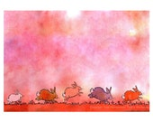Valentines Card - Bunny Rabbits Card - Rabbit Bunny Art - Funny Bunny Greeting Card- Bunny Rabbit Watercolor Painting Print 'Lovebunnies'