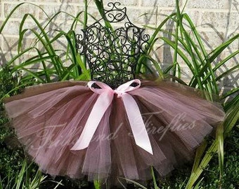 Tutu Pink and Brown with Pretty Pink Satin Bow in Baby to Adult Sizes